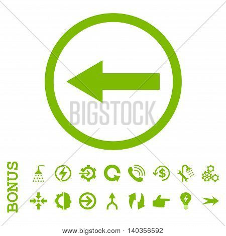 Left Rounded Arrow vector icon. Image style is a flat iconic symbol, eco green color, white background.