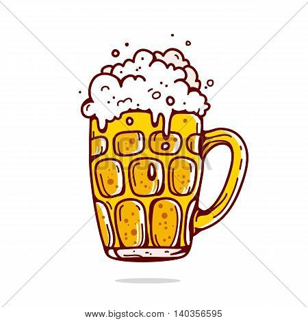 Big mug of beer. Vector illustration on white background drawn by hand.