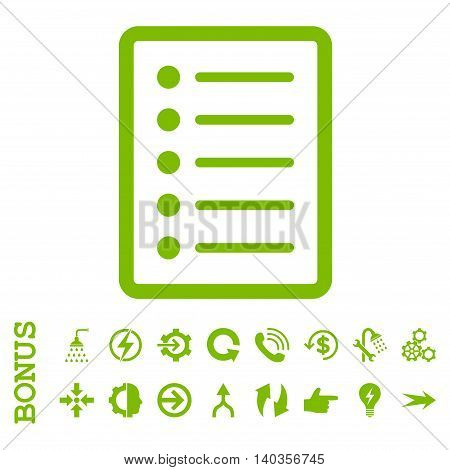 List Page vector icon. Image style is a flat iconic symbol, eco green color, white background.
