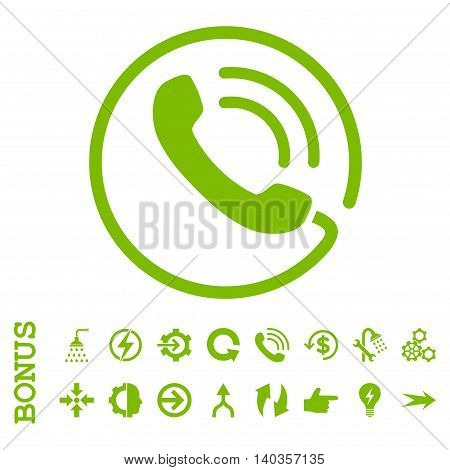 Phone Call vector icon. Image style is a flat iconic symbol, eco green color, white background.