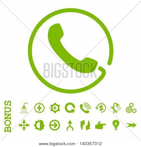 Phone vector icon. Image style is a flat pictogram symbol, eco green color, white background.
