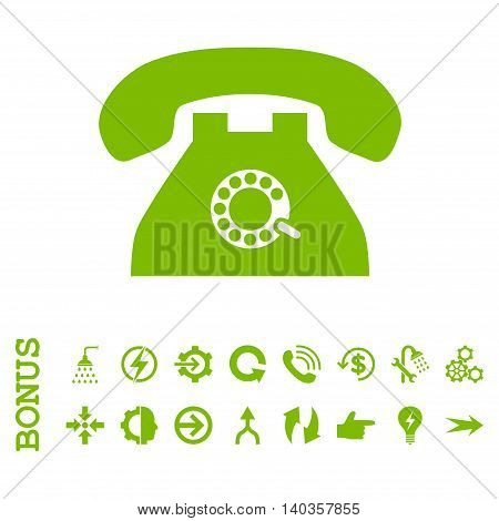 Pulse Phone vector icon. Image style is a flat iconic symbol, eco green color, white background.