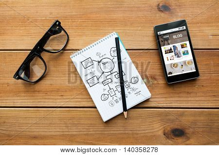 media, internet, business and technology concept - close up of notepad with pencil, blog web page on smartphone screen and eyeglasses on wooden table