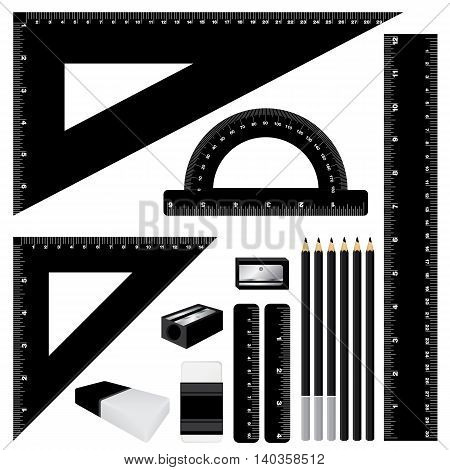 Drawing black color set. Black ruler and pencil, eraser with sharpener isolated on white background.