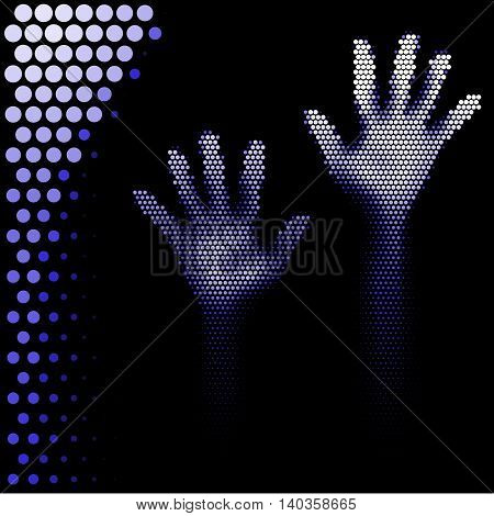 Hands silhouette in halftone style on white background