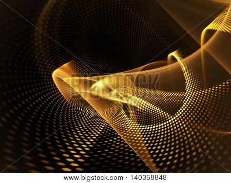 Abstract background element. Fractal graphics series. Three-dimensional composition of glowing lines and mosaic halftone effects. Golden colors.