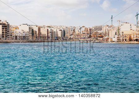 Panorama view of Saint Julians Bay in Malta.