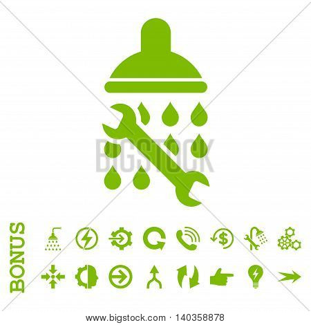 Shower Plumbing vector icon. Image style is a flat pictogram symbol, eco green color, white background.