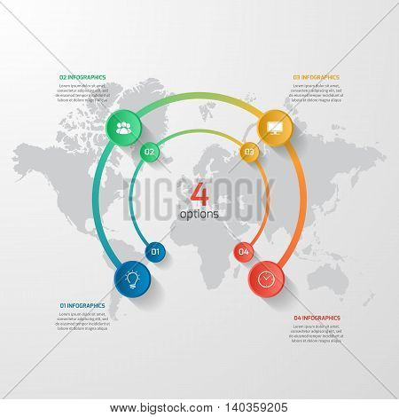 Vector Circle Infographic Template With 4 Options, Parts, Steps, Processes. Business Concept For Gra