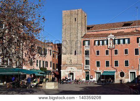 VENICE, ITALY - NOVEMBER 27: Campo Santa Margherita square NOVEMBER 27, 2015 in Venice, Italy