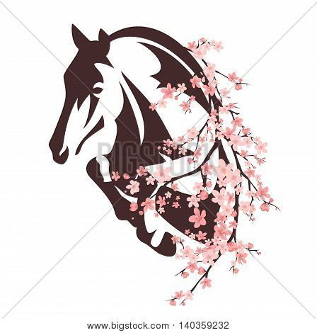 horse among flowers - animal and blooming tree branches vector design