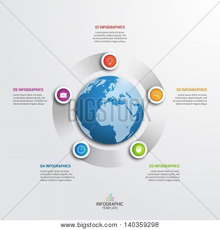 Circle Infographic Template With Globe With 5 Options. Business Concept. Vector Illustration.
