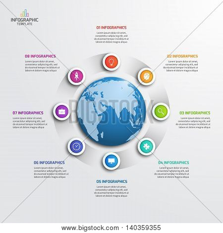 Circle Infographic Template With Globe With 8 Options. Business Concept. Vector Illustration.