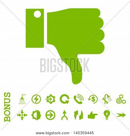 Thumb Down vector icon. Image style is a flat pictogram symbol, eco green color, white background.