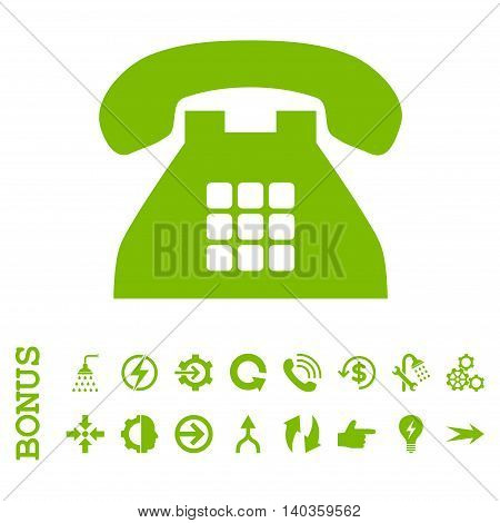 Tone Phone vector icon. Image style is a flat pictogram symbol, eco green color, white background.