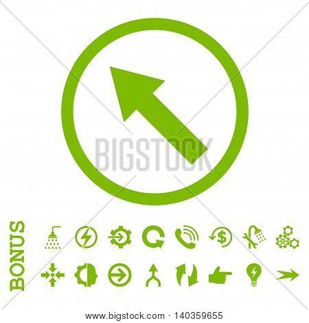 Up-Left Rounded Arrow vector icon. Image style is a flat pictogram symbol, eco green color, white background.