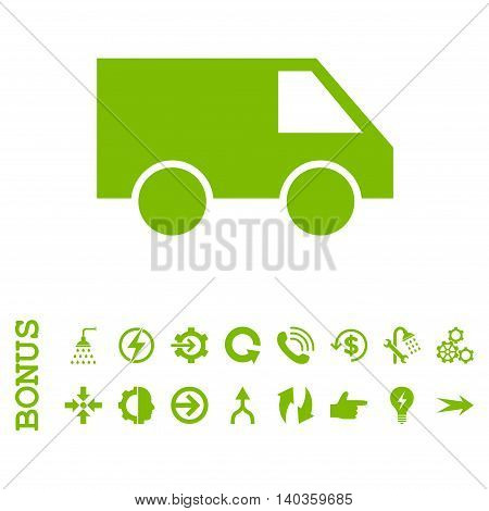 Van vector icon. Image style is a flat iconic symbol, eco green color, white background.