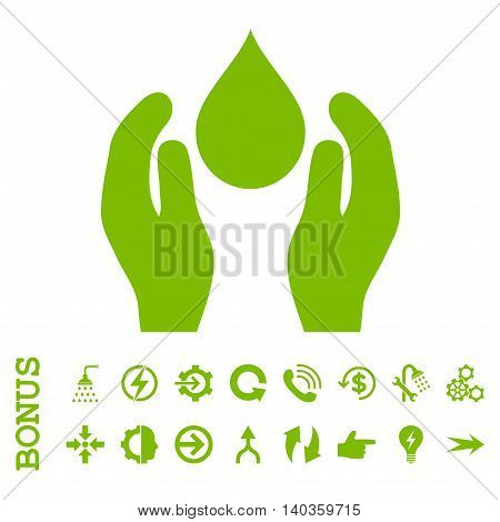 Water Care vector icon. Image style is a flat iconic symbol, eco green color, white background.