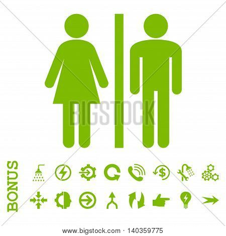 WC Persons vector icon. Image style is a flat iconic symbol, eco green color, white background.