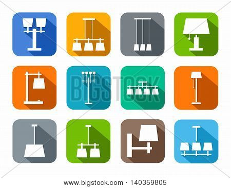 Lamps ceiling, table, outdoor, color icons. Vector image of different types of lamps for home and office. White icons on a colored background with a shadow.