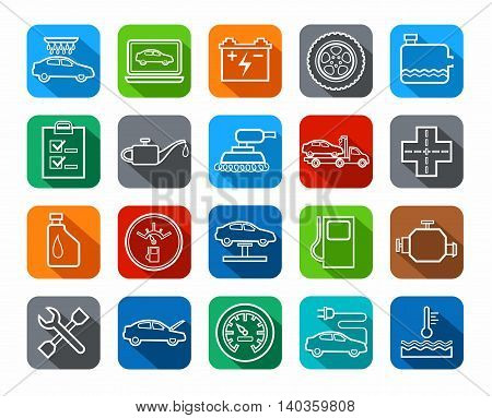 Repair and maintenance of vehicles, contour icons, colored. Vector icons of auto repair shop services. White contour drawings on a colored background with a shadow.