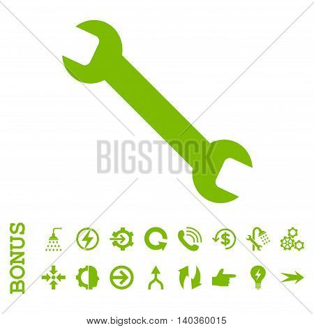 Wrench vector icon. Image style is a flat pictogram symbol, eco green color, white background.