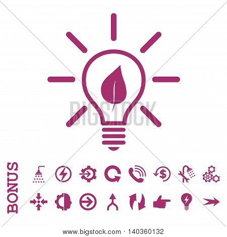 Eco Light Bulb vector icon. Image style is a flat pictogram symbol, purple color, white background.