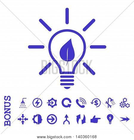 Eco Light Bulb vector icon. Image style is a flat pictogram symbol, violet color, white background.