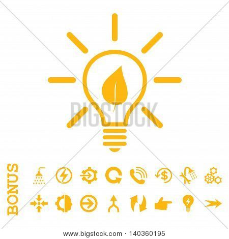 Eco Light Bulb vector icon. Image style is a flat pictogram symbol, yellow color, white background.