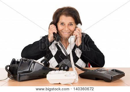 Senior Woman With Phones
