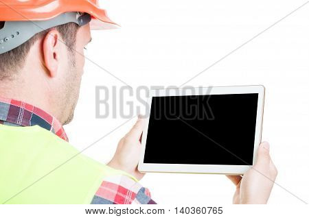 Male Builder With Digital Tablet