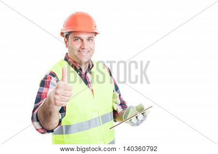 Happy Builder Holding Tablet And Showing Thumbup