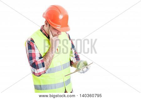 Constructor With Modern Tablet Thinking At Something