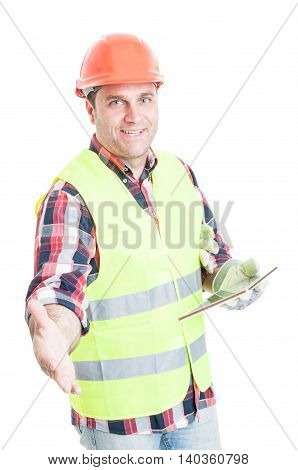 Handsome Constructor Doing A Handshake Gesture