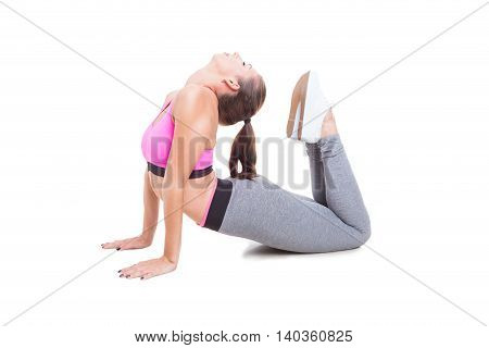 Young Woman Wearing Sportswear Stretching Her Spine