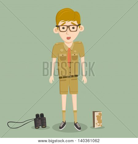 Boyscout with binoculars and map. Smart boy training to scout. Scared character