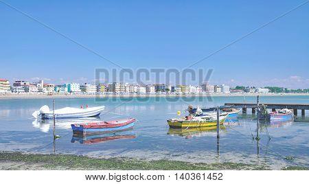 Beach and Village of Caorle at adriatic Sea,venetian Riviera,Veneto,Italy