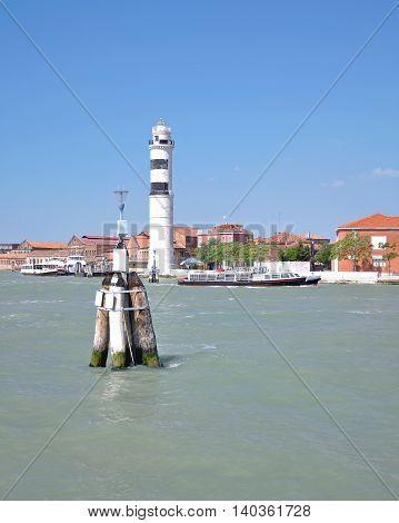 Lighthouse and Murano Island in Lagoon of Venice,adriatic Sea,Veneto,Italy