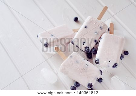 Ice popsicles with yogurt and blueberries in ice lolly mold with wooden sticks. Shallow depth of field.