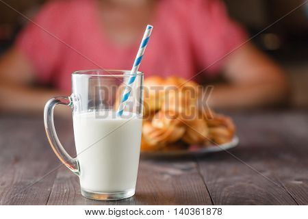 Glass Of Milk On An Kitchen Table