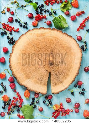 Healthy summer garden berry variety. Black and red currant, gooseberry, rasberry, garden strawberry, mint leaves on blue painted backdrop with round wooden board in center. Top view, copy space