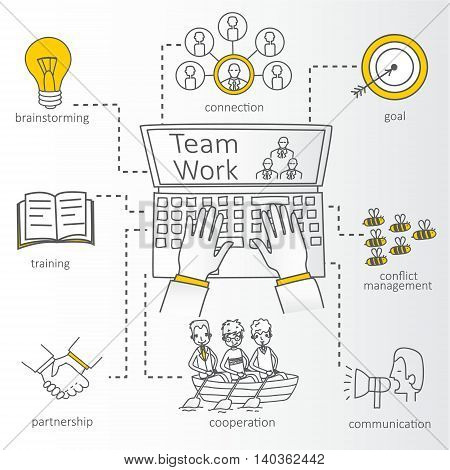 Vector concept of team work with Info Graphic Elements.