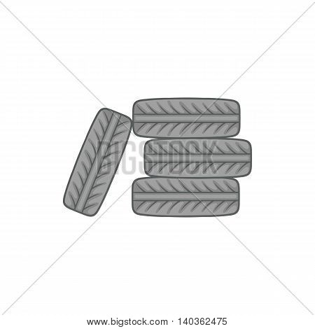 Pile of black tires icon in cartoon style on a white background