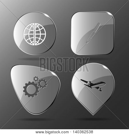 4 images: globe, ink pen, gears, airliner. Business set. Glass buttons. Vector illustration icon.