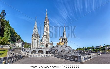 Panoramic view of Rosary Basilica in Lourdes Hautes-Pyrenees France