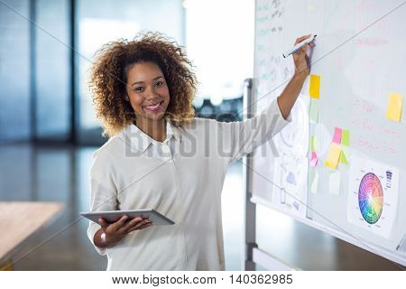 Portrait of smiling woman writing on whiteboard while holding tablet in office
