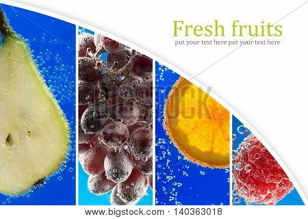Fruits and berries surrounded by bubbles (collage with copy space)