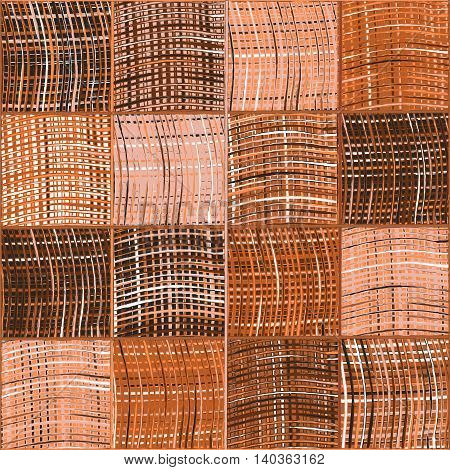 Seamless quilted pattern with grunge striped and checkered square elements in brown white pink colors