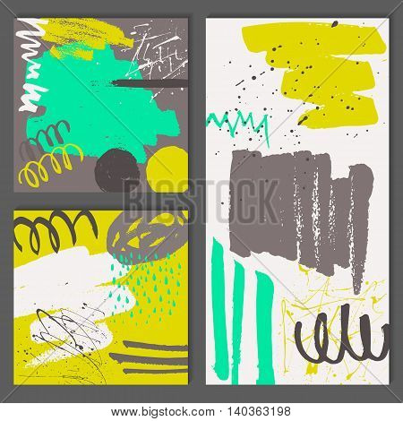 Set of abstract universal cards. Hand Drawn textures. Colorful shapes, lines and splashes. Editable template for wedding, birthday, party. Trendy design for poster, card, invitation, brochure, flyer