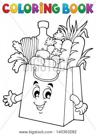 Coloring book shopping bag theme 1 - eps10 vector illustration.